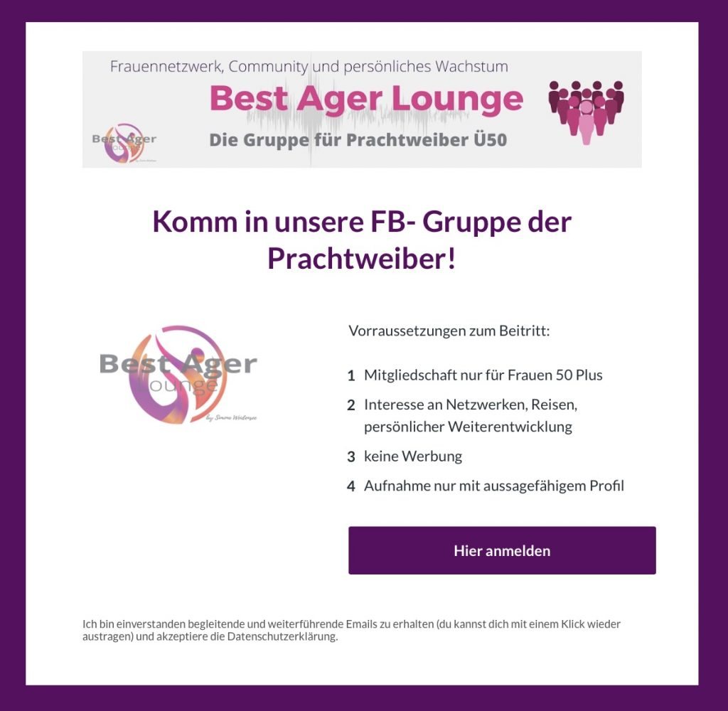 Best Ager Lounge, Simone Weidensee, Ü50, 50 Plus, Lifestyle, Reisen, Community